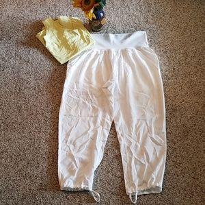 Lululemon Athletica white crop harem pants EUC